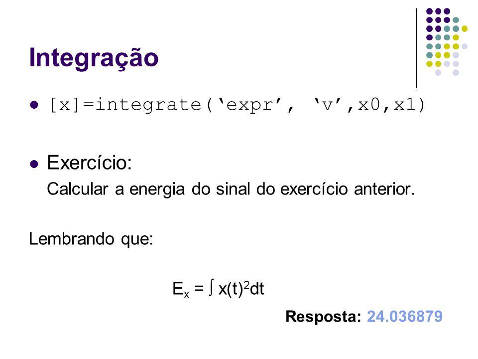 Integração [x]=integrate('expr', 'v',x0,x1) Exercício: